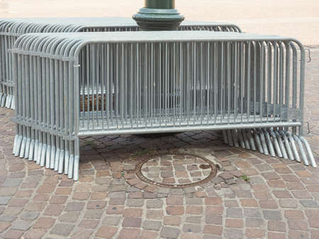 temporary: Temporary metal fences for concerts and events Stock Photo