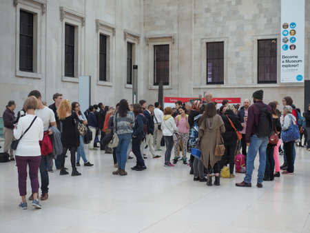 foster: LONDON, UK - SEPTEMBER 28, 2015: Tourists in the Great Court at the British Museum designed by architect Lord Norman Foster opened in year 2000