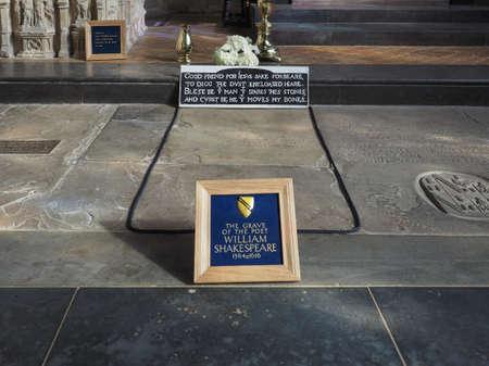 william shakespeare: STRATFORD UPON AVON, UK - SEPTEMBER 26, 2015: Grave of William Shakespeare in Holy Trinity Church Editorial