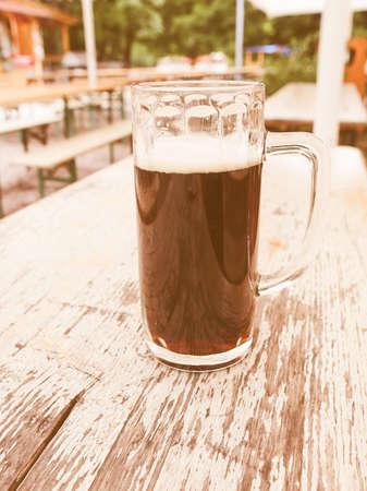Vintage looking A glass of German dark beer