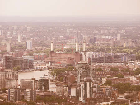powerstation: Vintage looking Aerial view of Battersea Power Station of London, UK
