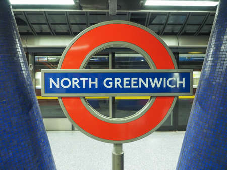 tube station: LONDON, UK - SEPTEMBER 29, 2015: London Underground sign at North Greenwich tube station