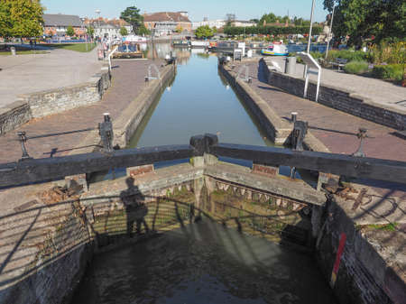 canal lock: Canal lock gate in Stratford upon Avon, UK
