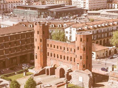 torri: Vintage looking Aerial view of Palatine towers aka Porte Palatine, ruins of ancient roman town gates in Turin
