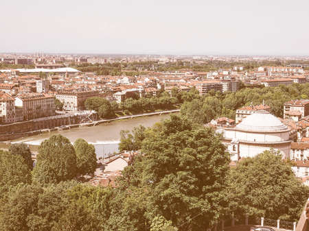 seen: Vintage looking Aerial view of the city of Turin, Italy seen from the hill