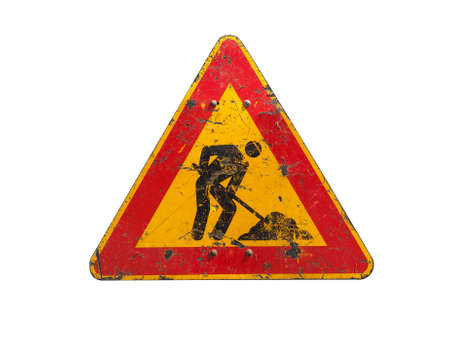 road works: Warning signs, Road works traffic sign isolated over white background Stock Photo