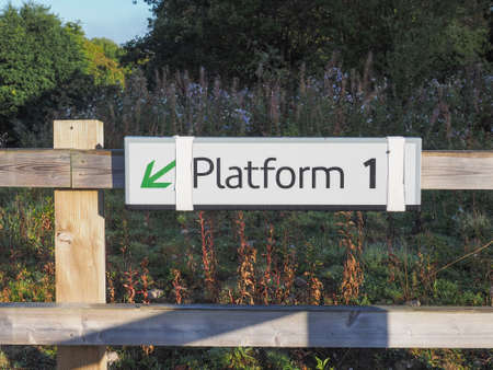 1: Platform 1 sign at railway station Stock Photo