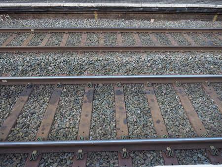 railroad: Railway railroad tracks for train public transport Stock Photo