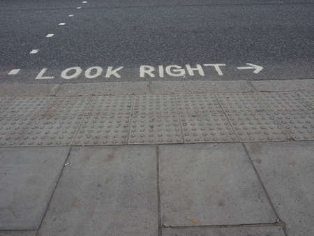 look right: Look right sign in London street in England Stock Photo
