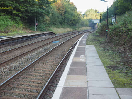 railway: Railway railroad tracks for train public transport Stock Photo