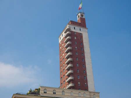 castello: Torre Littoria skyscraper in Piazza Castello in Turin, Italy Editorial