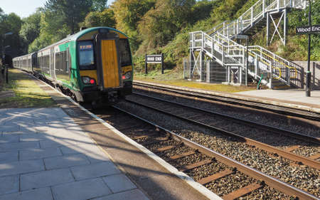 wood railway: TANWORTH IN ARDEN, UK - SEPTEMBER 25, 2015: London Midland train at Wood End railway station on the Stratford upon Avon to Birmingham route known at the Shakespeare Line Editorial
