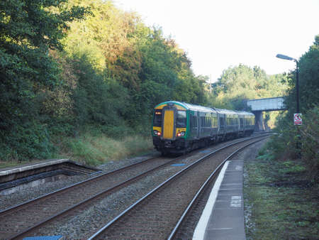 stratford: TANWORTH IN ARDEN, UK - SEPTEMBER 26, 2015: London Midland train at Wood End railway station on the Stratford upon Avon to Birmingham route known at the Shakespeare Line