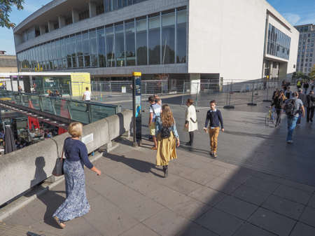 music venue: LONDON, UK - SEPTEMBER 29, 2015: The Royal Festival Hall built as part of the Festival of Britain national celebrations in 1951 is still in use as a major music and entertainment venue Editorial