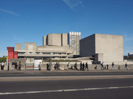 masterpiece: LONDON, UK - SEPTEMBER 28, 2015: The National Theatre designed by Sir Denys Lasdun is a masterpiece of new brutalist architecture Editorial