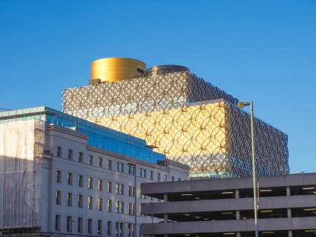 birmingham: BIRMINGHAM, UK - SEPTEMBER 25, 2015: Library of Birmingham designed by Mecanoo architects is the new public library in Birmingham