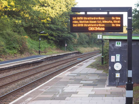 wood railway: TANWORTH IN ARDEN, UK - SEPTEMBER 26, 2015: Wood End railway station on the Stratford upon Avon to Birmingham route known at the Shakespeare Line