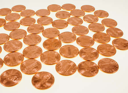 penny: Vintage looking Dollar coins 1 cent wheat penny cent currency of the United States Stock Photo