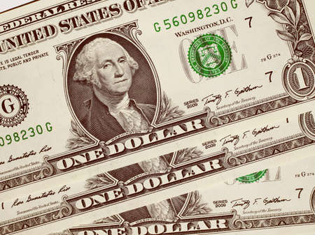 dollar: Vintage looking Dollar banknotes 1 Dollar currency of the United States useful as a background