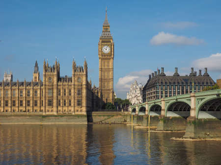 ben: Houses of Parliament aka Westminster Palace and Westminster Bridge over River Thames in London, UK