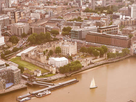 river thames: Vintage looking Aerial view of River Thames in London, UK Stock Photo