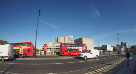 double decker: LONDON, UK - SEPTEMBER 28, 2015: Red double decker bus for public transport in central London Editorial