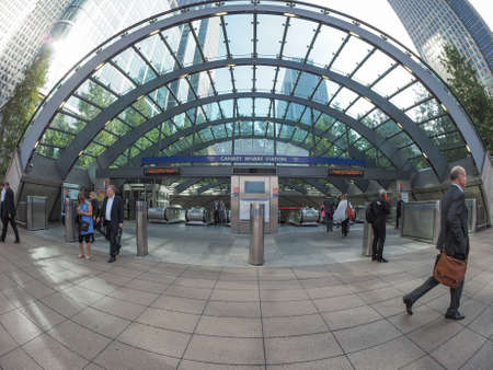largest: LONDON, UK - SEPTEMBER 29, 2015: The Canary Wharf tube station serves the largest business district in the United Kingdom