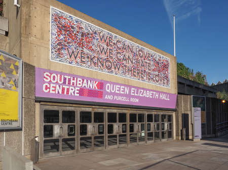 music venue: LONDON, UK - SEPTEMBER 28, 2015: Queen Elizabeth Hall and Purcell Room iconic masterpiece of the New Brutalism and world class music venue part of the South Bank Centre