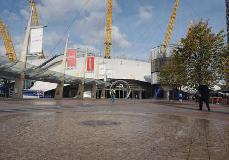 millennium: LONDON, UK - SEPTEMBER 29, 2015: The Millennium Dome built in celebration of the third millennium in year 2000 now houses the O2 arena music hall Editorial