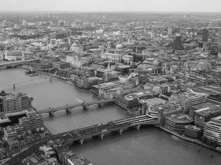 river thames: Aerial view of River Thames in London, UK in black and white