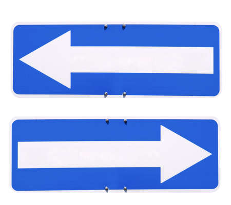Blank direction arrow sign with copy space, type your own text, left and right arrow over blue background