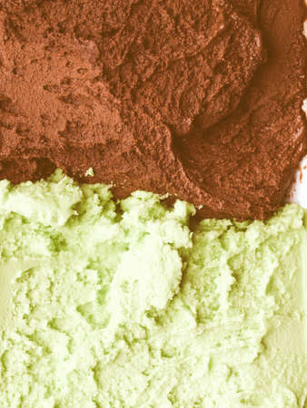 flavour: Vintage looking Detail of Mint Chocolate flavour ice cream Stock Photo