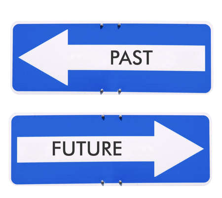 Direction arrow sign, back arrow meaning past, forward arrow meaning future