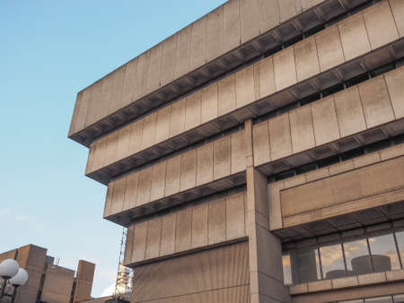 masterpiece: BIRMINGHAM, UK - SEPTEMBER 24, 2015: Birmingham Central Library iconic masterpiece of New Brutalism designed by John Madin in 1974 is now threated of demolition