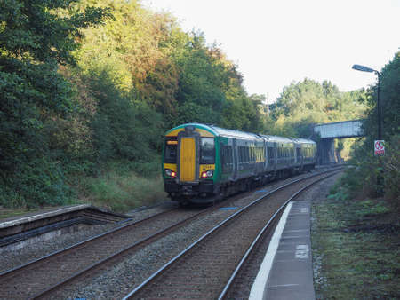 wood railway: TANWORTH IN ARDEN, UK - SEPTEMBER 26, 2015: London Midland train at Wood End railway station on the Stratford upon Avon to Birmingham route known at the Shakespeare Line