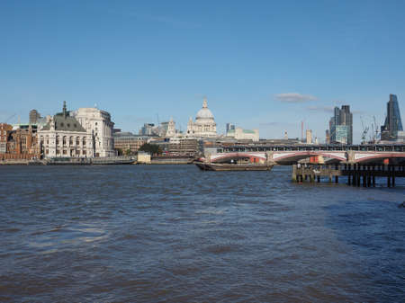 river thames: LONDON, UK - SEPTEMBER 28, 2015: Panoramic view of River Thames