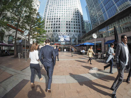 business centre: LONDON, UK - SEPTEMBER 29, 2015: The Canary Wharf business centre is the largest business district in the United Kingdom seen with fisheye lens