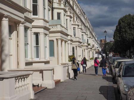houses row: LONDON, UK - SEPTEMBER 27, 2015: Row of Terraced Houses