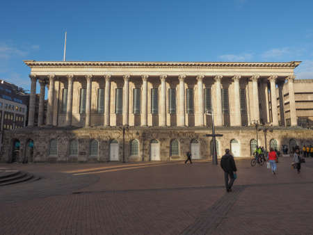 venue: BIRMINGHAM, UK - SEPTEMBER 25, 2015: Tourists in front of Town Hall concert venue Editorial