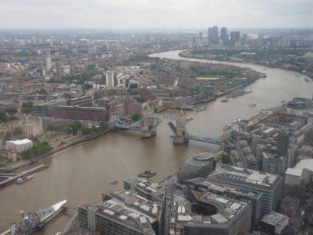 river thames: Aerial view of River Thames in London, UK Stock Photo