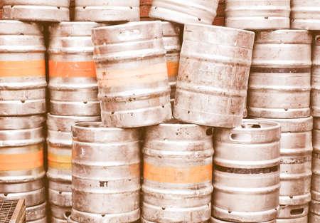 casks: Vintage looking Range of stacked beer casks of kegs