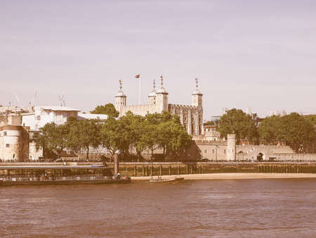 river thames: Vintage looking The Tower of London seen from River Thames in London, UK Stock Photo