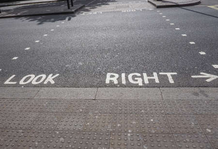 look right: Look Right sign in a London street Stock Photo