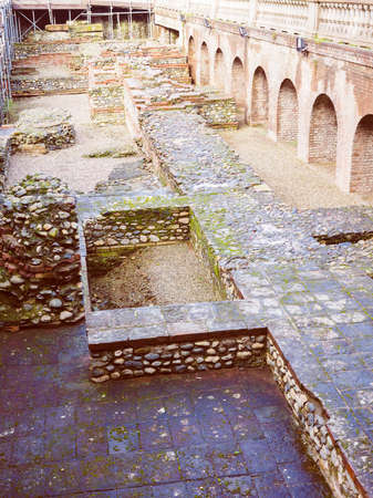 teatro antiguo: Vintage looking Ruins of the ancient Roman theatre in Turin Italy