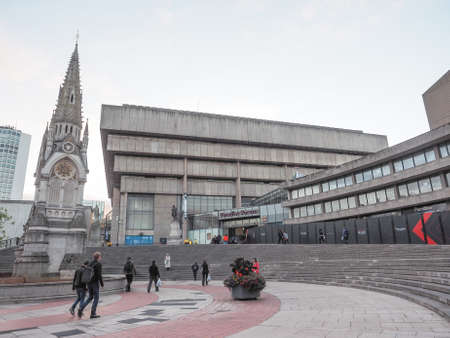 birmingham: BIRMINGHAM, UK - SEPTEMBER 24, 2015: Birmingham Central Library iconic masterpiece of New Brutalism designed by John Madin in 1974 is now threated of demolition