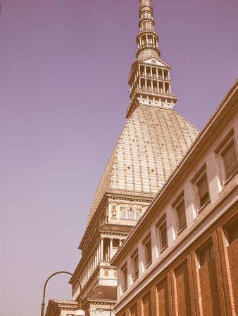piedmont: Vintage looking The Mole Antonelliana in Turin Piedmont Italy Stock Photo