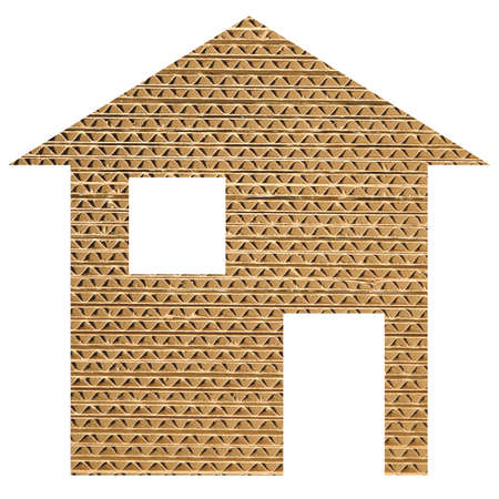 corrugated cardboard: Paper house 2d model illustration isolated over white