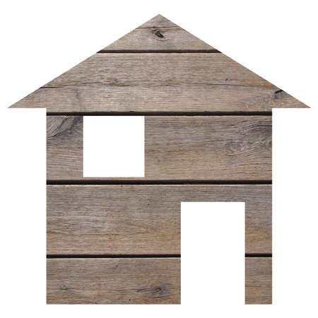 building site: Wood house 2d model illustration isolated over white