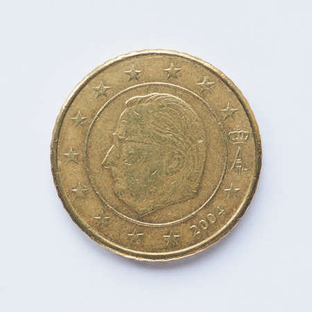 belgie: Currency of Europe 50 cent coin from Belgium Stock Photo