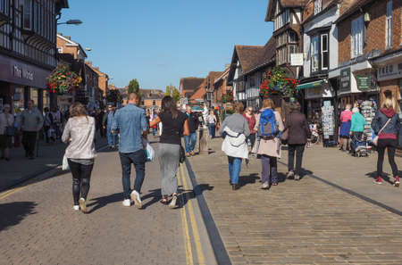 birthplace: STRATFORD UPON AVON, UK - SEPTEMBER 26, 2015: Tourists visiting the city of Stratford, birthplace of William Shakespeare